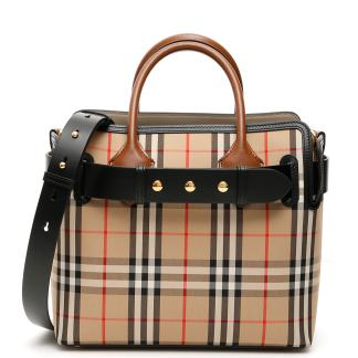 BURBERRY THE SMALL BELT BAG OS Beige, Black, Red Leather, Cotton