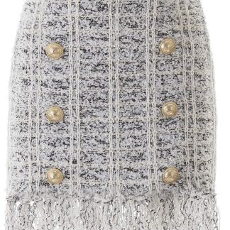 BALMAIN FRINGED TWEED MINI SKIRT 34 White, Black, Silver Wool, Cotton