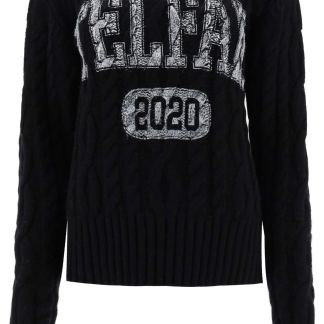 TELFAR CABLE-KNIT SWEATER WITH LOGO XS Black Wool