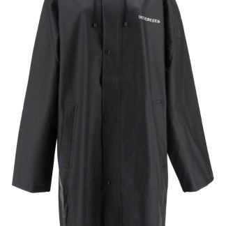 VETEMENTS OVERSIZED PVC RAINCOAT WITH LOGO OS Black