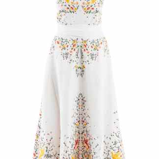 ZIMMERMANN CARNABY LONG DRESS WITH BIRDS EMBROIDERIES 2 White, Yellow, Green Linen