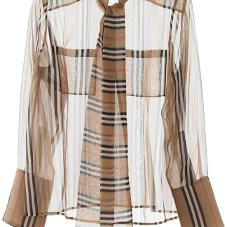 BURBERRY AMELIE SHIRT 8 Beige, Black, Red Silk