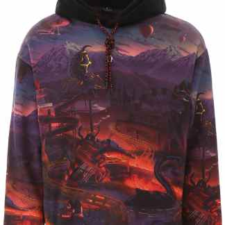 MARCELO BURLON MULTICOLOR PRINTED HOODIE L Purple, Black, Red Cotton