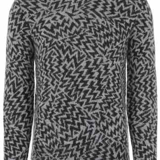 SAINT LAURENT JACQUARD BOOMERANG PULLOVER M Black, Grey Wool