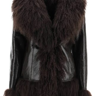 SAKS POTTS SHEARLING COAT WITH FUR 2 Brown Leather, Fur