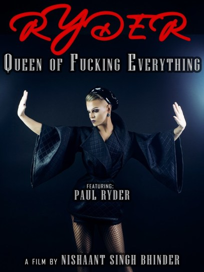 Promotional poster for one of the drag documentaries featuring Paul Ryder in a black coat