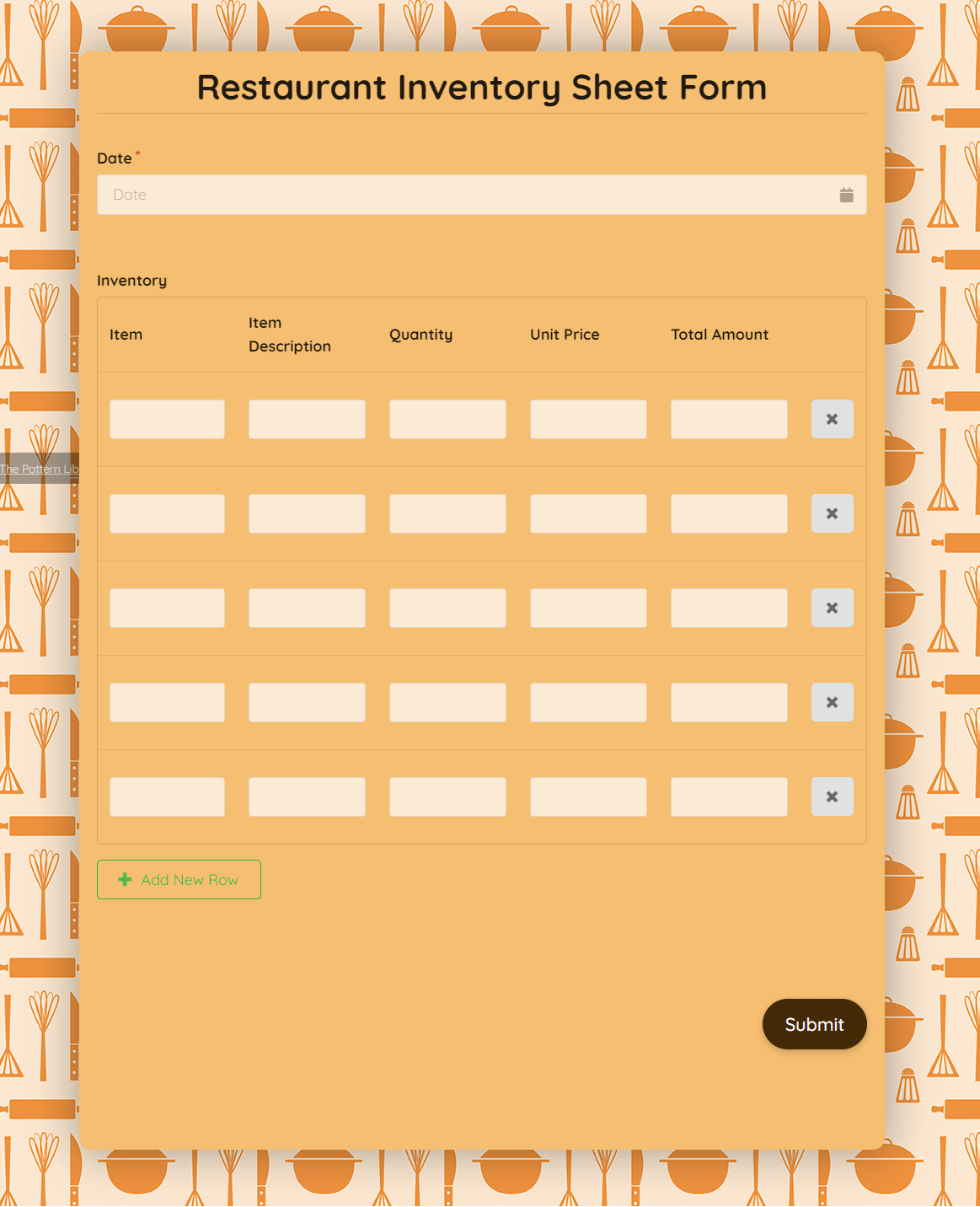 Then, create a copy of the food and beverage inventory template for each month's use. Restuarant Inventory Sheet Form Formplus