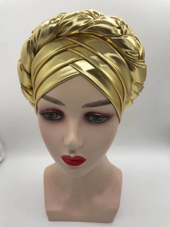 latest aso oke auto gele headtie 2020 Already Handmade african Cap Nigerian Wedding Gele women braid turbans Ladies head wraps