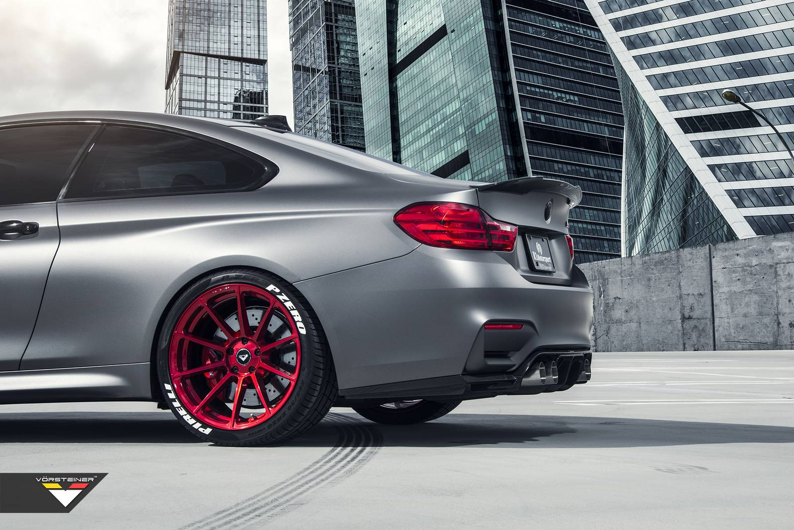 Frozen Gray BMW M4 With Candy Apple Red Vorsteiner Wheels