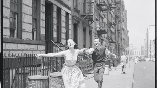 Carol Lawrence and Larry Kert on location (West 56th street between 9th and 10th ave) for West Side Story publicity shoot_NYPL.jpg