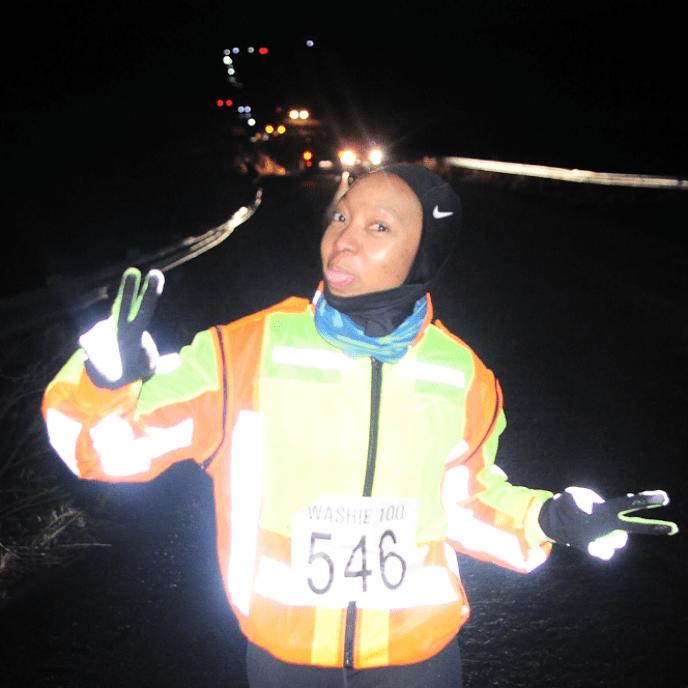 Zanele running the Washie 100 Miler ultramarathon.