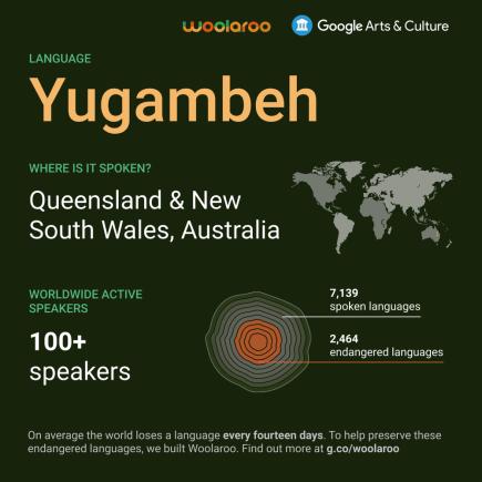 Un grafico informativo con numeri sulla lingua yugambeh