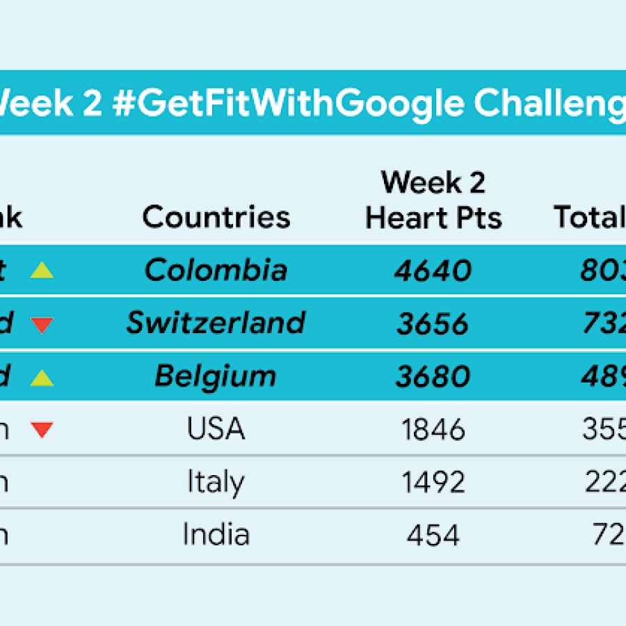 Get Fit With Google leaderboard