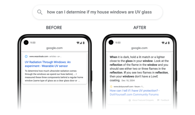 "Passage SEO example: Screenshot from Googles article ""How AI is powering a more helpful Google"""