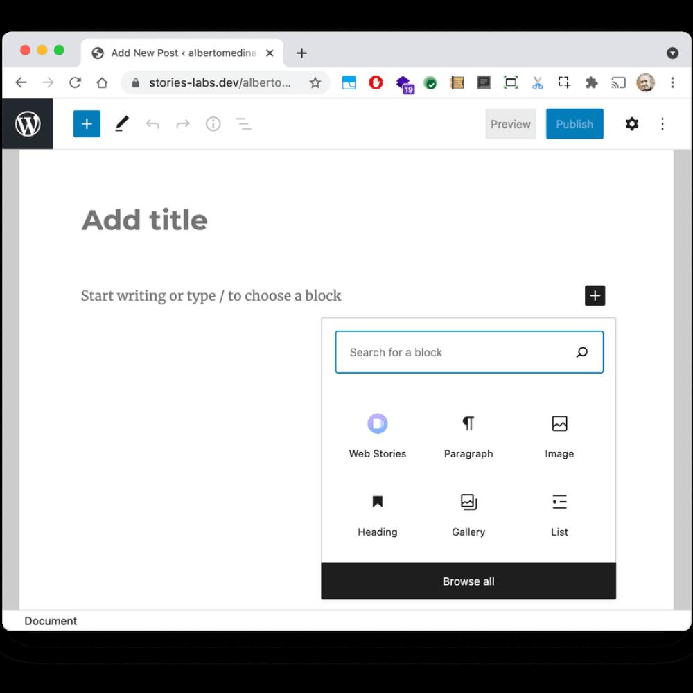 Una nueva interfaz de publicación de blog en WordPress, sin texto de contenido, que muestra los tipos de bloques que puede agregar a la publicación.