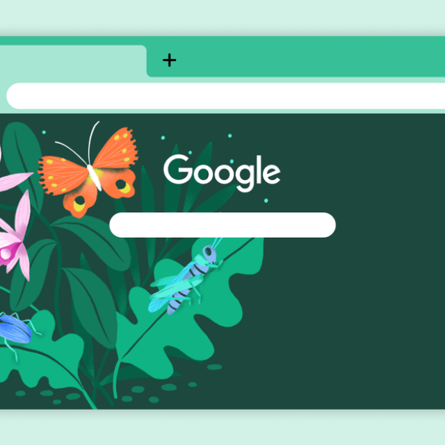 """Chrome browser background depicting """"The Scenic Route"""", an illustration of insects and plants by Marisol Ortega"""