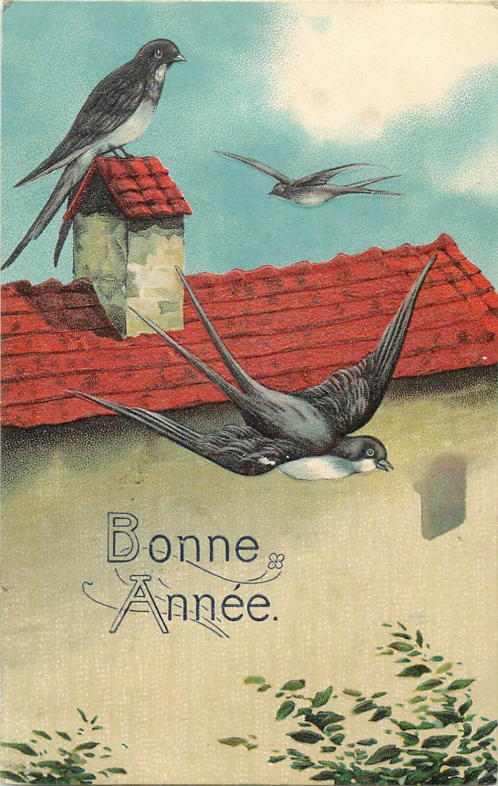 embossed swallow birds vintage