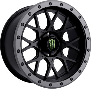 Monster Edition 649BA Satin Black w/ Anthracite Grey Beadlock-Style Lip and Green Monster M-Claw Cap