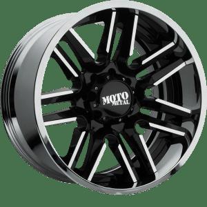 Moto Metal MO202 Gloss Black w/ Machined Center and Chrome Lip