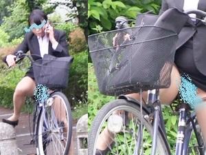 奇跡のタイミング!OLお姉さんの 自転車パンチラ