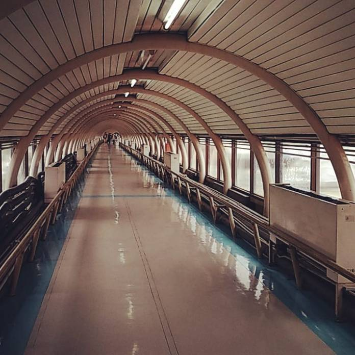 A walking path inside Don Muang Airport
