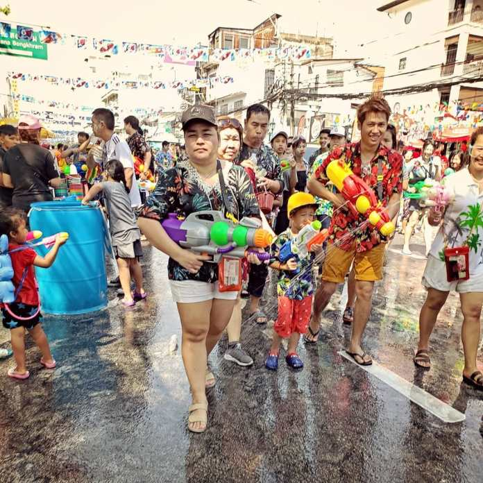 People enjoying Songkran