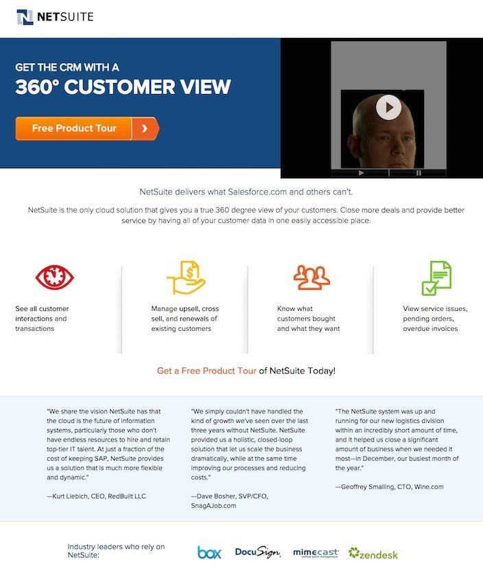 This picture shows why NetSuite has one of the best landing pages on the web that converts consistently.