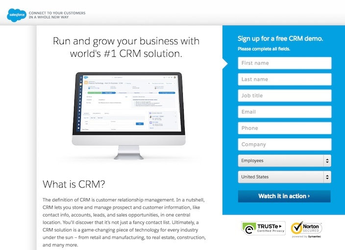 This picture shows marketers why Salesforce has one of the best landing pages you'll find online.