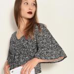 Women's V Neck Patterned Black Blouse
