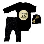 Baby Girl's Printed Black 3 Pieces Outfit Set