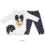 Baby Girl's Polka-Dot Navy Blue Tights, Beanie & White Romper Set