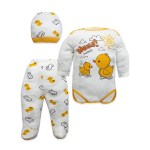 Baby's Printed White 3 Pieces Outfit Set