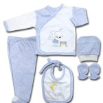 New Born Baby's Blue – White Outfit Set (5 Pieces)