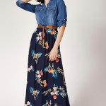 Women's Denim Top Patterned Viscose Hem Long Dress