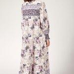Women's Shirred Sleeves Floral Pattern Linen Long Dress