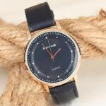 Men's Navy Blue Leather Strap Metal Case Watch