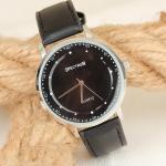 Men's Black Leather Strap Grey Metal Case Watch