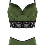 Women's Unsupported Green Velvet Bustier & Panty Set
