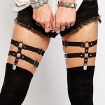 Women's Double Layer Black Sexy Leg Band