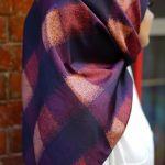 Women's Patterned Purple Twill Scarf