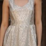 Women's Back Button Glitter Beige Short Dress