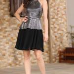 Women's Sequined Silver Black Dress
