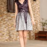 Women's Sequined Belted Dark Purple Short Evening Dress