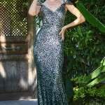 Women's Fish Model Sequin Dark Green Evening Dress