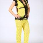 Lace Detail Yellow Fantasy Vest Pants Set