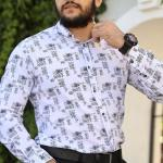 Men's Oversize Printed Ecru Shirt