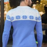 Men's Patterned Blue Tricot Sweater