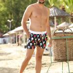 Patterned Black Swim Shorts