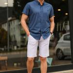 Men's Pocket Light Grey Capri Shorts