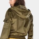 Women's Hooded Pocket Khaki Velvet Sweatshirt